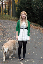 ivory Forever 21 dress - camel H&M hat - black Anna Sui tights
