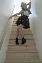 blue DIY vest - black Forever21 skirt - black Target shoes