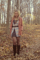 purple H&M dress - gray Old Navy vest - black Bakers boots - orange Target coat