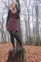 black H&M dress - navy Forever21 cardigan - black boots - brown vintage belt