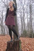 black H&M dress - navy Forever21 cardigan - black boots - brown vintage belt