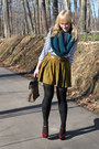 black tights - teal knit The Limited scarf - bronze leopard Mossimo bag