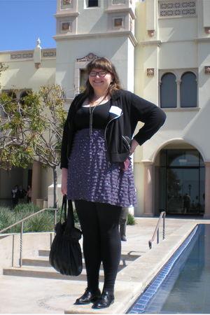 purple torrid dress - black torrid jacket - black torrid leggings - black  from