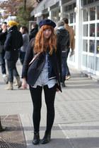 black ankle vintage boots - navy pea vintage coat - navy beret vintage hat - blu
