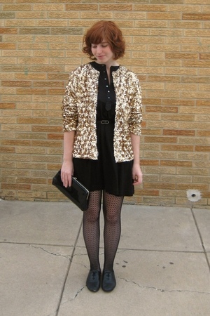 vinage jacket - Muji dress - tights - H&M shoes - vintage