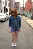 blue Levis jacket - blue Forever 21 top - purple shorts - white Keds shoes