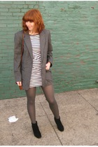 gray vintage jacket - black H&M dress - gray tights - black vintage boots - brow