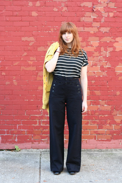 black stripe thrifted top - yellow vintage 70s jacket