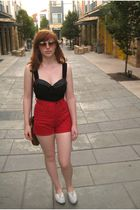 red high waist short shorts