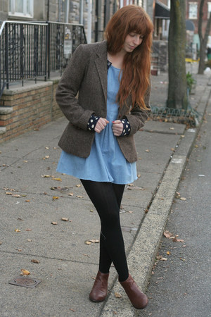 light blue vintage dress - dark brown Marais USA boots