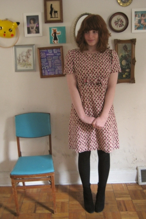red vintage dress - black thrifted shoes - black tights