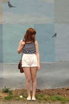 white top - white vintage shorts - brown vintage Coach purse - white shoes