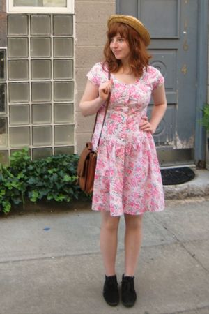 pink vintage dress - black booties Keds shoes - brown thrift hat