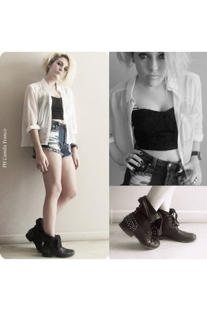 see through H&M blouse - studded boots Steve Madden boots - Nasty Gal shorts