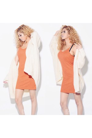 off white cardigan - carrot orange Topshop dress
