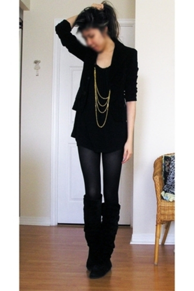 blazer - forever 21 blouse - shorts - H&M tights - boots - forever 21 jacket
