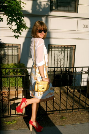 ruby red Jeffrey Campbell shoes - white H&M shirt - yellow Nine West bag - Roxy