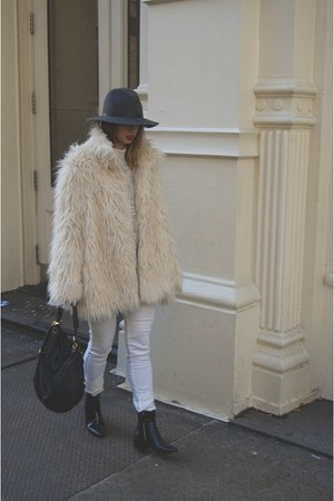 white H&M jeans - black Zara boots - charcoal gray Urban Outfitters hat