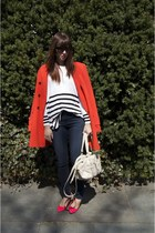 carrot orange ann taylor jacket - H&amp;M sweater - hot pink H&amp;M heels