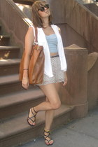light brown H&M bag - white Moms button down top shirt - H&M shorts
