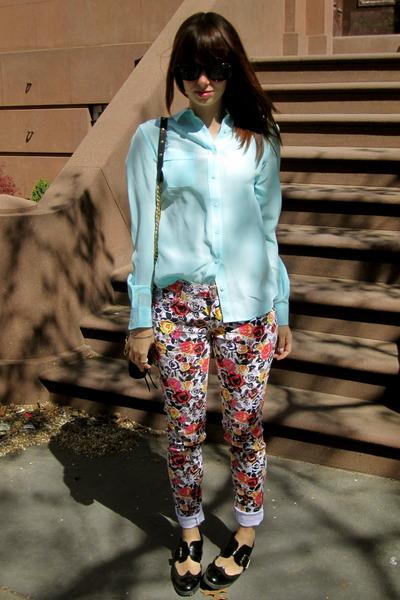 delias jeans - black Jeffrey Campbell shoes - aquamarine Joe Fresh shirt