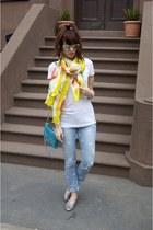 ann taylor scarf - polka dot DIY jeans - white Target shirt