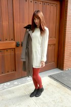 black joe fresh style boots - white Apart dress - heather gray Elie Tahari coat