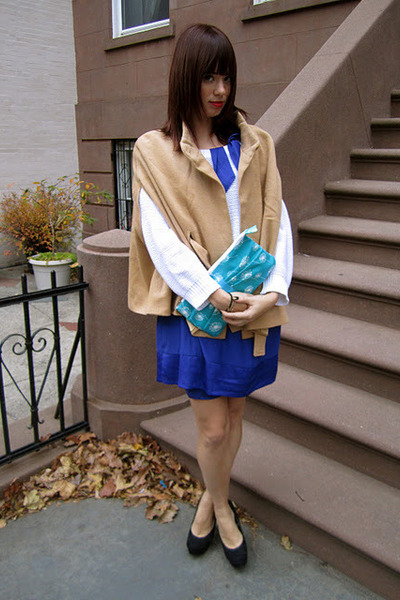 blue H&M dress - white ben sherman sweater - sky blue Luha Boutique bag