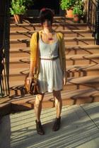 mustard Target cardigan - dark brown H&M boots - Urban Outfitters dress