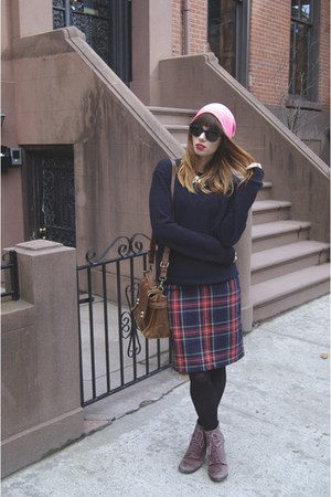 plaid H&M skirt - shoemint boots - hot pink Forever 21 hat