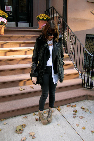 black Michael Kors jacket - white H&M shirt - black Marc by Marc Jacobs bag