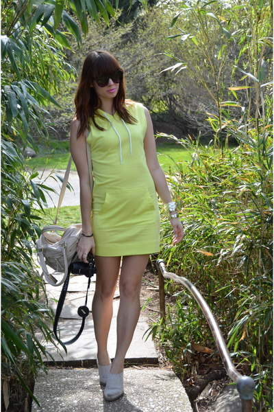 lime green H&M dress - silver Jeffrey Campbell shoes - off white Remi & Emmy bag