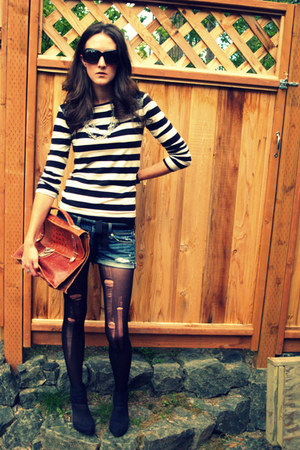 forever 2121 shirt - American Eagle shorts - DKNY stockings - lulus heels - Vint
