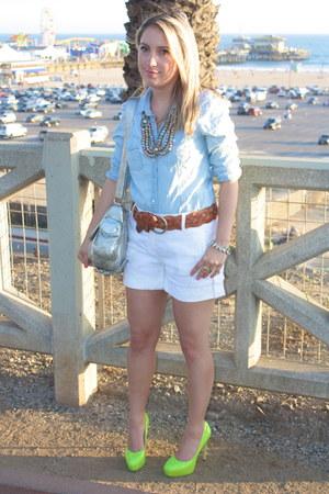 Gap shirt - Rebecca Minkoff purse - Theory shorts - linea pelle belt - H&M neckl