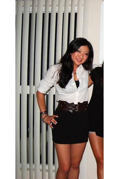 Black forever 21 skirts white urban outfitters shirts for White bra white shirt