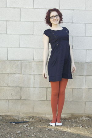 blue UO dress - red tights - white shoes
