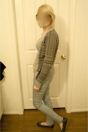 blue pants - gray cardigan