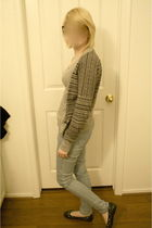 blue pants - gray cardigan