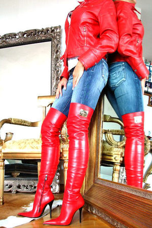 red red thigh boots boots
