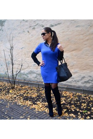 blue Cubus necklace - black suede Halens boots - blue knit H&M dress
