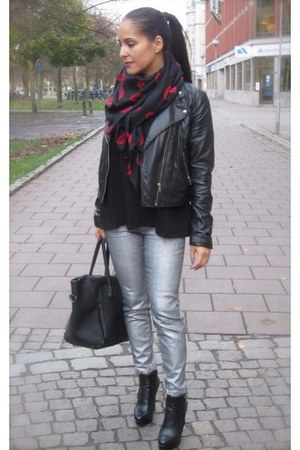 black leather jacket H&M jacket - H&M scarf - silver pants H&M pants