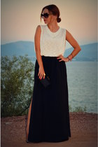 maxi skirt Zara skirt - black Bottega Veneta bag
