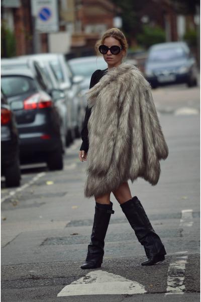 heather gray faux fur River Island coat