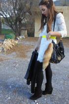 white lace Zara dress - black leather Zara jacket - black Zara wedges