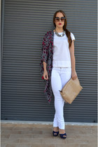 white Zara jeans - heather gray Zara scarf - nude bag - hot pink handmade ring