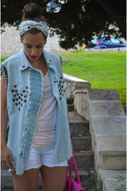 light blue jeans Tammy Archive vest - white Bershka shorts