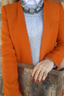 Orange-zara-suit-asos-boots-silver-vintage-sweater-white-shirt