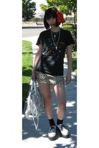 Prada purse - vintage shirt - Guess Jeans skirt - creepers shoes