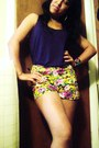 Yellow-floral-forever-21-shorts-purple-forever-21-top