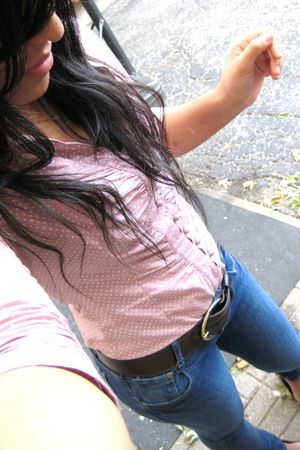 blue Forever 21 jeans - pink polka dots Charlotte Russe shirt - brown Urban Outf